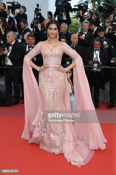 Sonam Kapoor attends the The Meyerowitz Stories screening during the 70th annual Cannes Film Festival at Palais des Festivals on May 21 2017 in...