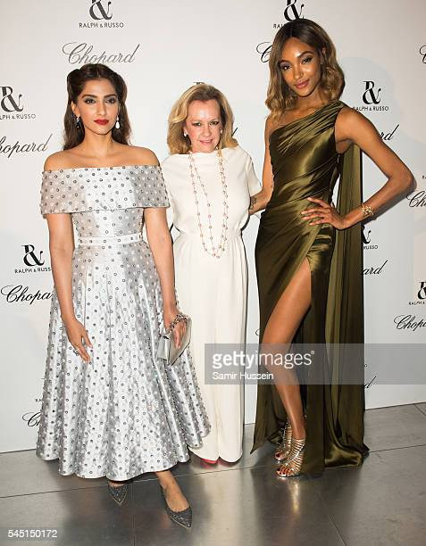 Sonam Kapoor Caroline Scheufele and Jourdan Dunn attends the Ralph Russo And Chopard Host Dinner as part of Paris Fashion Week on July 4 2016 in...
