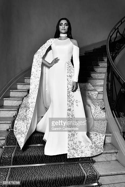 Sonam Kapoor departs the Martinez Hotel during the 69th annual Cannes Film Festival on May 15 2016 in Cannes France