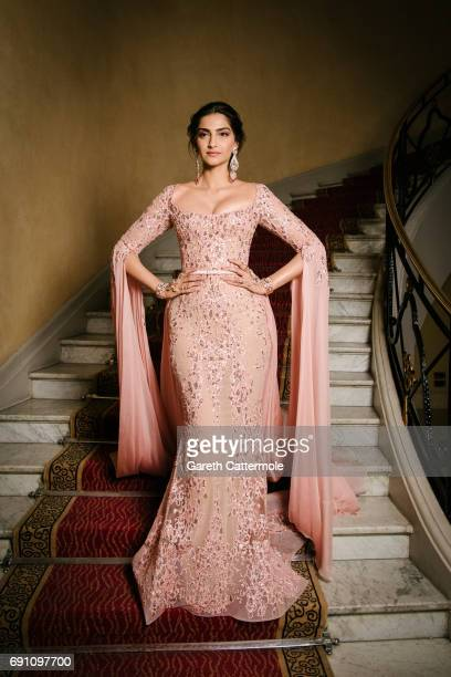 Sonam Kapoor departs the Martinez Hotel during the 70th annual Cannes Film Festival on May 21 2017 in Cannes France