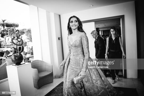 Sonam Kapoor departs the Martinez Hotel on May 22 2017 in Cannes France