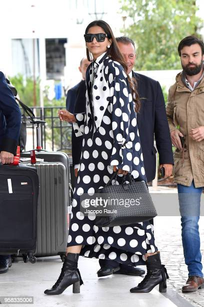 Sonam Kapoor is seen arriving at Hotel Martinez during the 71st annual Cannes Film Festival at on May 14 2018 in Cannes France