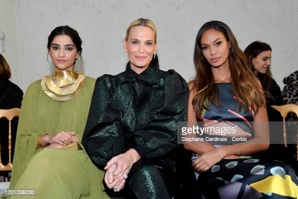 Sonam Kapoor Molly Sims and Joan Smalls attend the Elie Saab Haute Couture Spring/Summer 2020 show as part of Paris Fashion Week on January 22 2020...