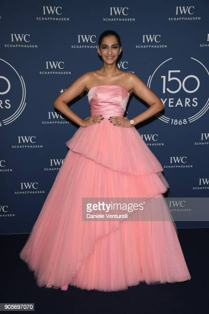Sonam Kapoor walks the red carpet for IWC Schaffhausen at SIHH 2018 on January 16 2018 in Geneva Switzerland