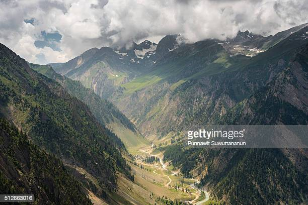 sonamarg mountain and small river - kashmir valley stock photos and pictures