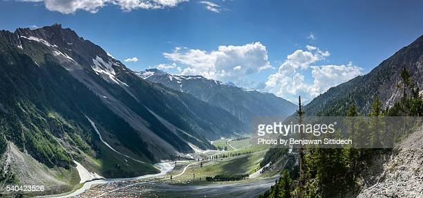 sonamarg mountain landscape - kashmir valley stock photos and pictures