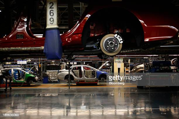 Sonata and Elantra vehicles move across production lines at the Hyundai Motor Manufacturing Alabama assembly plant in Montgomery, Alabama, U.S., on...