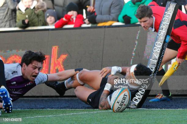 Sonatane Takulua of Newcastle Falcons scores in the corner during the Greene King IPA Championship match between Newcastle Falcons and Cornish...