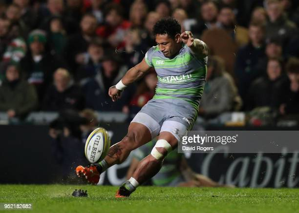 Sonatane Takulua of Newcastle Falcons successfully converts a try by team mate Ally Hogg to win the match win the last kick of the match during the...