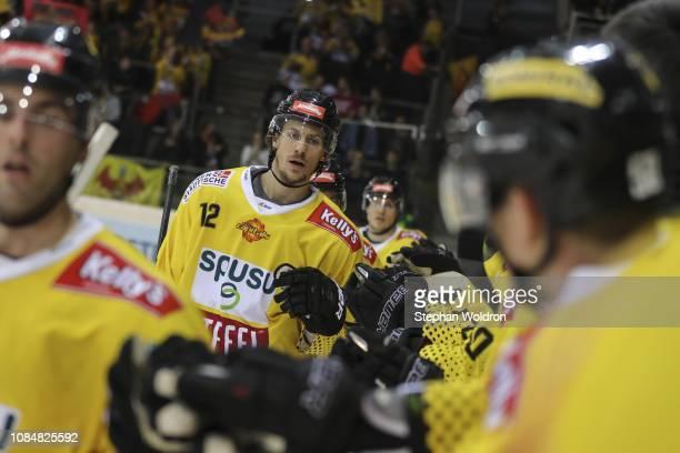 Sondre Olden of Vienna during the Vienna Capitals v EC VSV Erste Bank Eishockey Liga at Erste Bank Arena on January 18 2019 in Vienna Austria