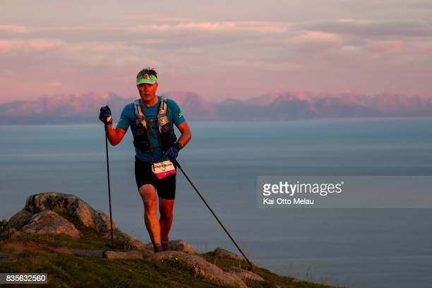 Sondre Runar Kjaer climbing the last mountain of the day at The Arctic Triple // Lofoten Triathlon Extreme distance on August 19 2017 in Svolvar...