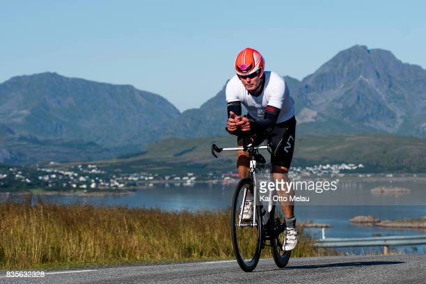 Sondre Runar Kjaer on the bikeleg at The Arctic Triple // Lofoten Triathlon Extreme distance on August 19 2017 in Svolvar Norway Lofoten Triathlon is...