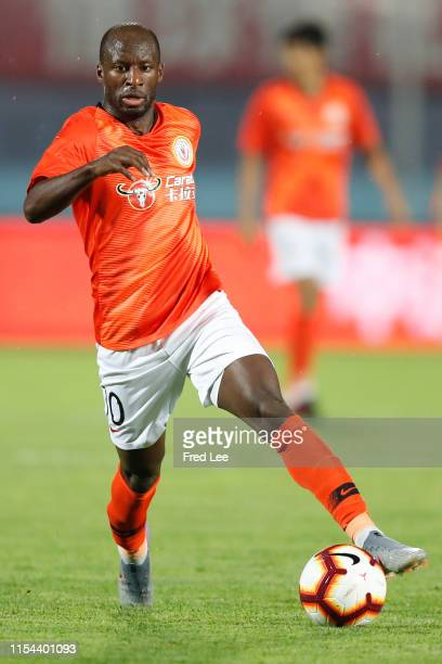 Sone Aluko of Beijing Renhe in action during 2019 China Super League between Beijing Renhe and Shangdong Luneng at Beijing Fengtai Stadium on July 7,...