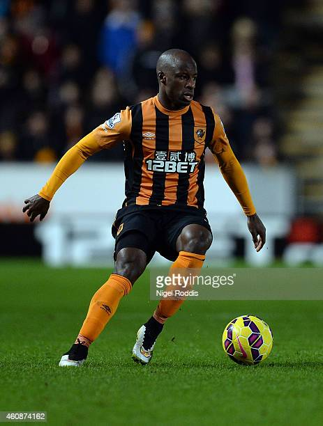 Sone Aluko of Hull City during the Barclays Premier League match between Hull City and Leicester City at the KC Stadium on December 28 2014 in Hull...