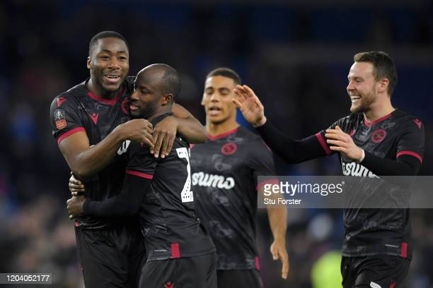Sone Aluko of Reading FC celebrates with his team mates scoring his sides winning penalty during the penalty shoot out during the FA Cup Fourth Round...