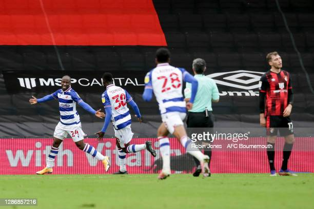 Sone Aluko of Reading FC celebtrates with team-mates after he scores a goal to make it 2-0 during the Sky Bet Championship match between AFC...