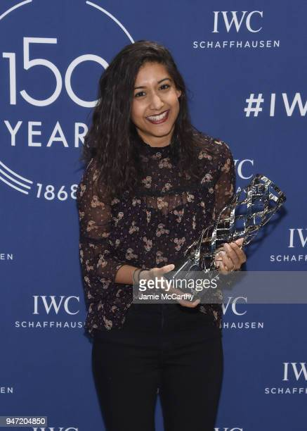 Sonejuhi Sinha accepts the IWC Filmmaker Award at the IWC Tribeca Film Festival Filmmaker Award Celebration on April 16 2018 in New York City