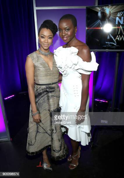 Sonequa MartinGreen and Danai Gurira attend the 49th NAACP Image Awards at Pasadena Civic Auditorium on January 15 2018 in Pasadena California