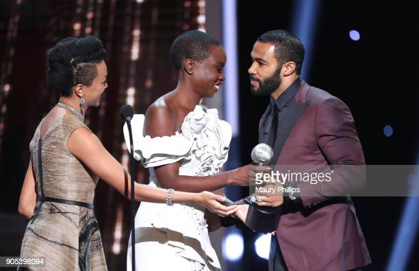 Sonequa MartinGreen and Danai Gurira present the Outstanding Actor in a Drama Series award to Omari Hardwick for 'Power' onstage during the 49th...