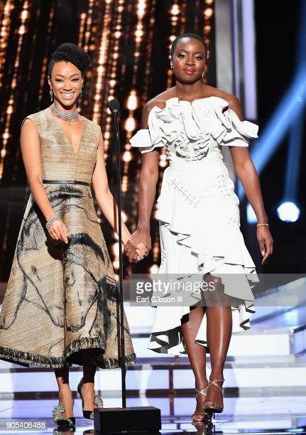 Sonequa MartinGreen and Danai Gurira speak onstage at the 49th NAACP Image Awards on January 15 2018 in Pasadena California