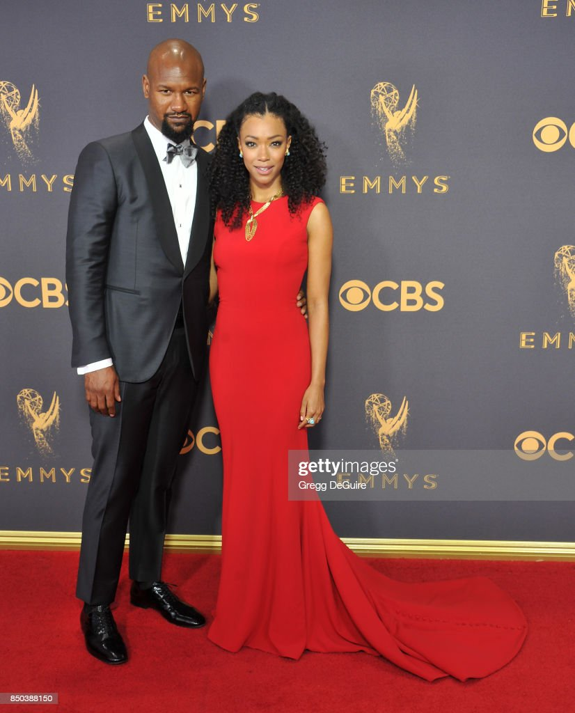 Sonequa Martin-Green and Kenric Green arrive at the 69th Annual Primetime Emmy Awards at Microsoft Theater on September 17, 2017 in Los Angeles, California.