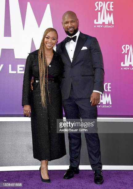 """Sonequa Martin-Green and Kenric Green attend the Premiere of Warner Bros """"Space Jam: A New Legacy"""" at Regal LA Live on July 12, 2021 in Los Angeles,..."""