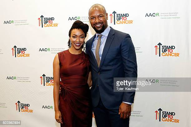 Sonequa Martin-Green and Kenric Green attend the Stand Up To Cancer Press Conference at the 2016 American Association for Cancer Research Annual...