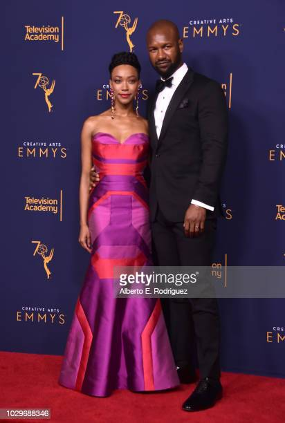 Sonequa MartinGreen and Kenric Green pose in the press room at the 2018 Creative Arts Emmy Awards at Microsoft Theater on September 8 2018 in Los...