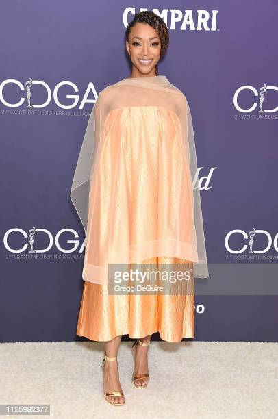 Sonequa MartinGreen arrives at the 21st CDGA at The Beverly Hilton Hotel on February 19 2019 in Beverly Hills California