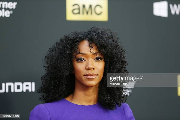 Sonequa MartinGreen arrives at the Los Angeles premiere of AMC's The Walking Dead 4th season held at Universal CityWalk on October 3 2013 in...