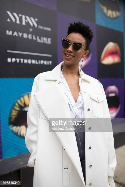 Sonequa MartinGreen is seen on the street attending Dion Lee during New York Fashion Week wearing a long white coat on February 10 2018 in New York...