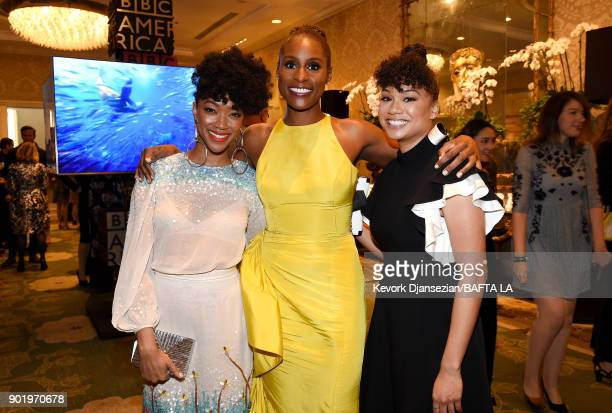 Sonequa MartinGreen Issa Rae and Deniese Davis attend The BAFTA Los Angeles Tea Party at Four Seasons Hotel Los Angeles at Beverly Hills on January 6...