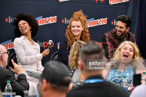 Sonequa MartinGreen Mary Wiseman Shazad Latif and Gretchen J Berg speak onstage during the Star Trek Discovery panel during 2017 New York Comic Con...