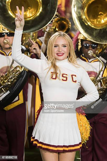 Song Girl celebrates after an NCAA football game between the California Golden Bears and the USC Trojans on October 27 at the Los Angeles Memorial...