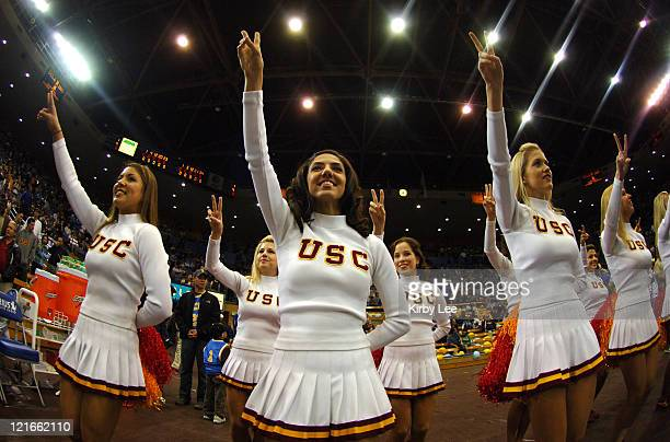 USC Song Girl cheerleaders during Pacific10 Conference basketball game against UCLA at Pauley Pavillion in Westwood Calif on Wednesday January 18 2006