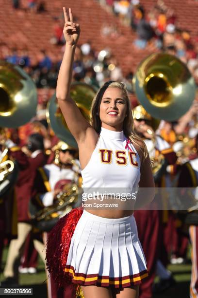 Song Girl peforms during a college football game between the Oregon State Beavers and the USC Trojans on October 7 at Los Angeles Memorial Coliseum...