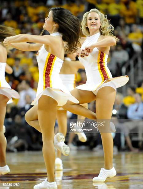USC song girls perform during a college basketball game between the Arizona State Sun Devils and the USC Trojans played at the Galen Center in Los...