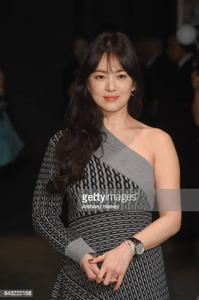 Song Hye Kyo attends the Burberry show during the London Fashion Week February 2017 collections on February 20 2017 in London England