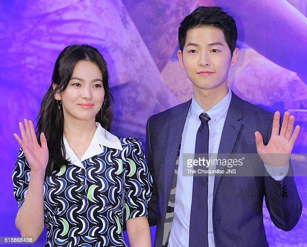Song Hyekyo and Song Joongki attend the KBS 2TV drama 'Descendants of the Sun' press conference at Imperial Palace on February 22 2016 in Seoul South...