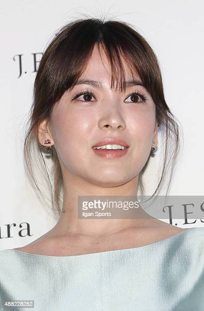 Song HyeKyo poses for photographs during the JESTINA 2015 F/W Products Presentation at Horim Art Center on September 8 2015 in Seoul South Korea