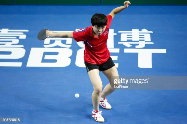 Song I KIM of DPR Korea during ITTF Team World Cup match between Ching I CHENG of Chinese Taipei and Song I KIM of DPR Korea Quarter Finals Women...