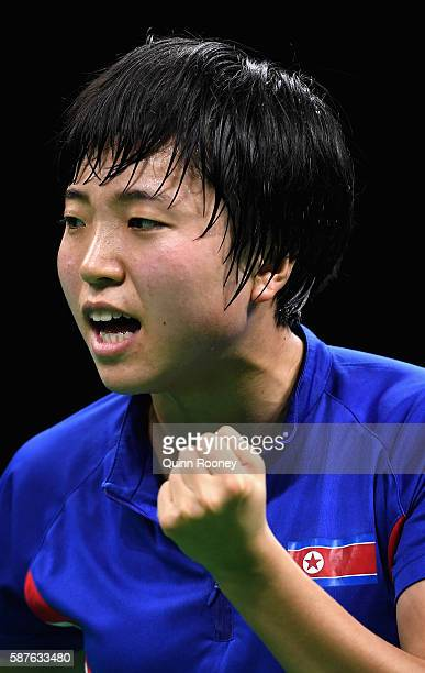 Song I Kim of North Korea competes against Mengyu Yu of Singapore during the Women's Singles Quarterfinal 1 Table Tennis on Day 4 of the Rio 2016...