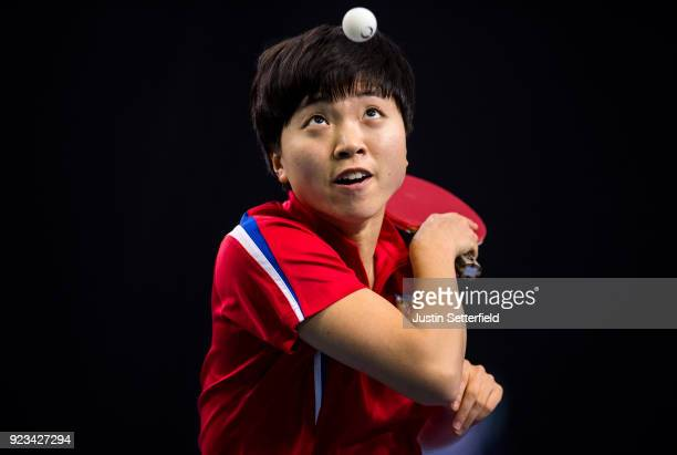 Song I Kim of People's Republic of Korea serves against Lin Gui of Brazil during the ITTF Team World Cup Table Tennis at Copper Box Arena on February...