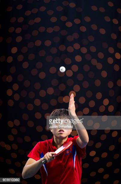 Song I Kim of People's Republic of Korea serves during the ITTF Team World Cup Table Tennis at Copper Box Arena on February 23 2018 in London England