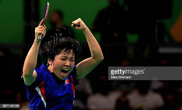 Song I Kim of the Peoples Republic of Korea celebrates winning a Women's Singles third round match against Kasumi Ishikawa of Japan on Day 2 of the...