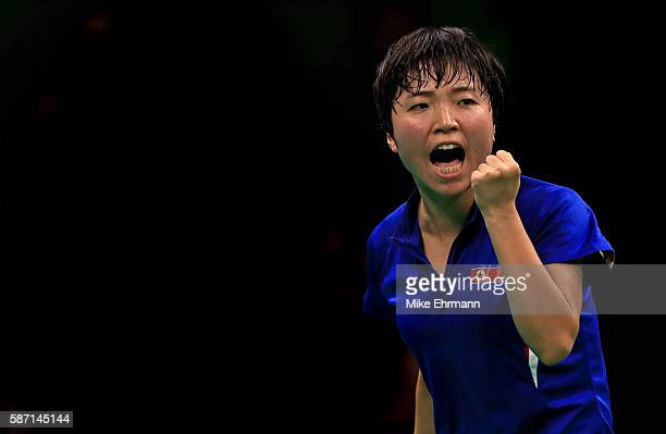 Song I Kim of the Peoples Republic of Korea plays a Women's Singles third round match against Kasumi Ishikawa of Japan on Day 2 of the Rio 2016...