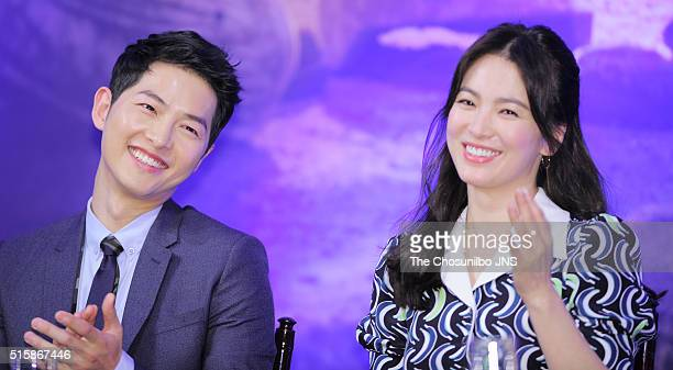 Song Joongki and Song Hyekyo attend the KBS 2TV drama 'Descendants of the Sun' press conference at Imperial Palace on February 22 2016 in Seoul South...