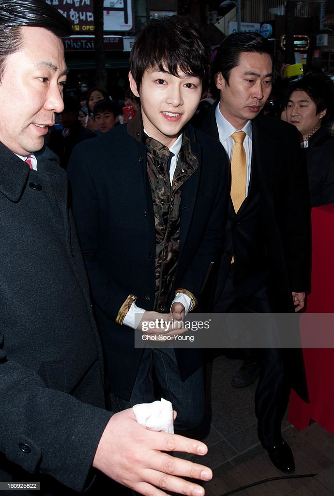Song Joong-Ki attends Samsonite RED 2013 S/S Launch Event at Coffee Smith on February 7, 2013 in Seoul, South Korea.