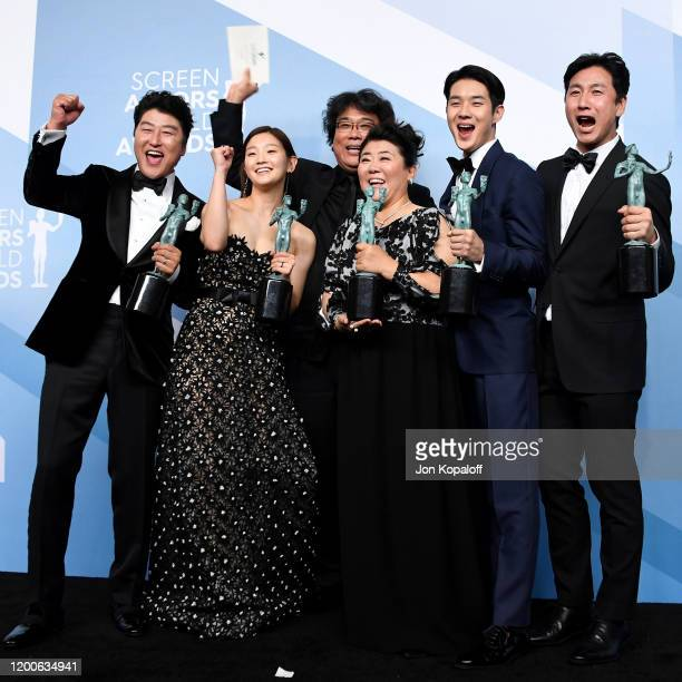 Song Kang Ho Sodam Park Bong Joonho Jeongeun Lee Woosik Choi and Sunkyun Lee winners of Outstanding Performance by a Cast in a Motion Picture for...
