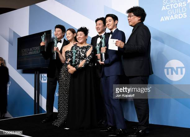 Song Kang Ho Sodam Park Jeongeun Lee Sunkyun Lee Woosik Choi and Bong Joonho winners of Outstanding Performance by a Cast in a Motion Picture for...